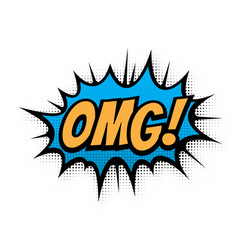 omg comic text bubble isolated color icon vector image