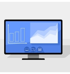 Pc with statistics chart vector