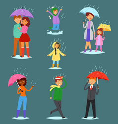 people in rain man woman characters in vector image