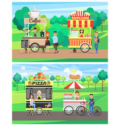 Pizza and hot dog vans and coffee and popcorn cart vector