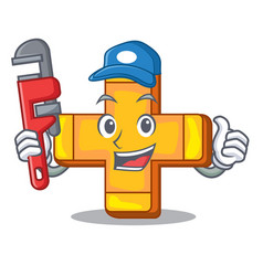 plumber plus sign isolated on the mascot vector image