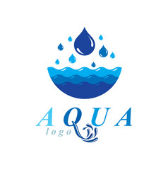 Pure water abstract logo for use as marketing vector