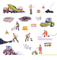 Road repair set flat composition vector