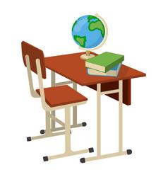 school desk with school supplies icon and logo vector image