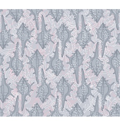 seamless pattern with seashells on a gray backgrou vector image