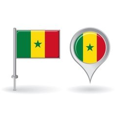 Senegalese pin icon and map pointer flag vector image