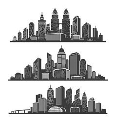 set cityscape black silhouettes with buildings vector image