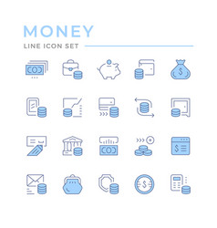 set color line icons money vector image