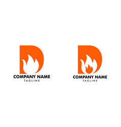 set letter d with flame fire logo design vector image