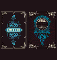 Set of 2 labels western style vector