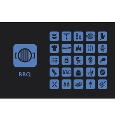 Set of BBQ simple icons vector