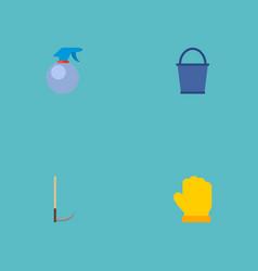 set of gardening icons flat style symbols with vector image