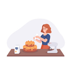 Smiling girl a dish cake on kitchen table woman vector