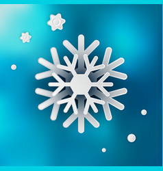 snowflake on blue blurred background vector image