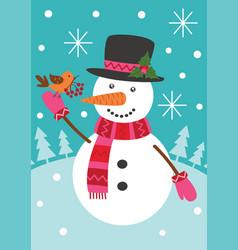 Snowman keeps bird with rowan vector