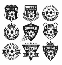 Soccer set of black emblems or logos vector