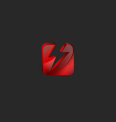square 3d logo in red glass or shiny gem broken vector image