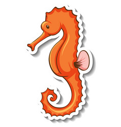 Sticker template with a seahorse cartoon vector