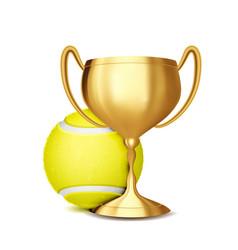tennis award tennis ball golden cup vector image