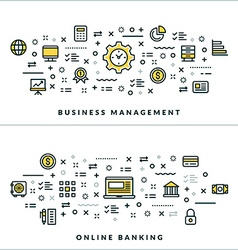Thin line business management and online banking vector