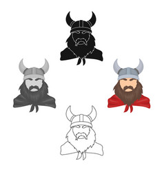 viking icon in cartoonblack style isolated on vector image