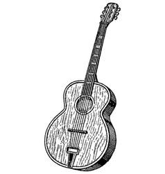vintage engraving guitar vector image