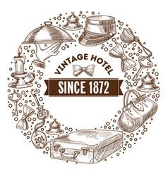 vintage hotel since 1872 monochrome outline sketch vector image