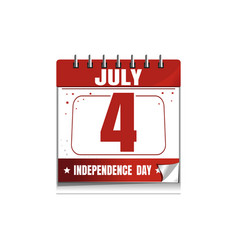 wall calendar 4 th july us independence day vector image