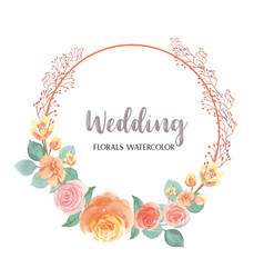 watercolor florals hand painted with text wreaths vector image
