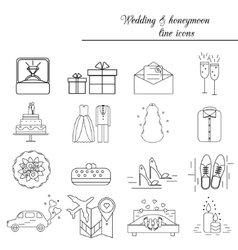 Wedding marriage engagement honeymoon vector image