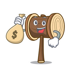 With money bag mallet character cartoon style vector