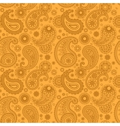 Yellow color arabic paisley pattern vector image