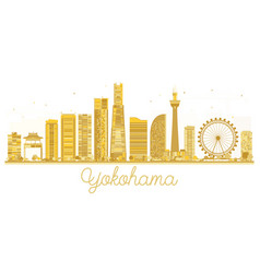 Yokohama japan city skyline golden silhouette vector