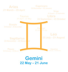 Zodiac sign gemini on white vector