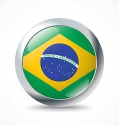 Brazil flag button vector image