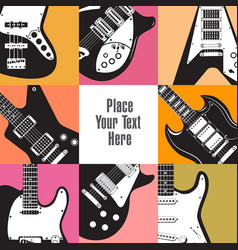 eight guitars frame this white space vector image