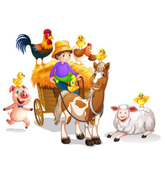 Farmer and many farm animals vector