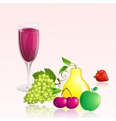 glass wine fruit vector image