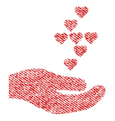 love hearts offer hand fabric textured icon vector image vector image
