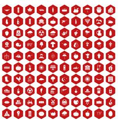 100 pumpkin icons hexagon red vector