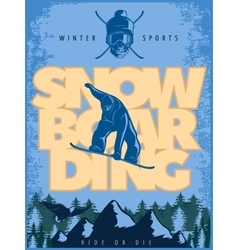 Blue Snowboarding Poster vector image
