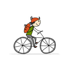 boy rides a bike sketch for your design vector image