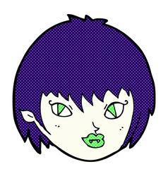 comic cartoon vampire girl face vector image vector image