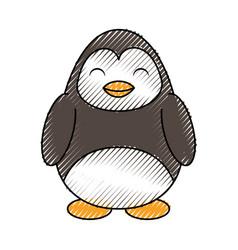 cute scribble penguin cartoon vector image
