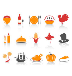 orange and red color series thanksgiving icons set vector image vector image