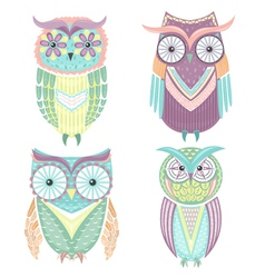 Set of cute colorful owls vector image vector image