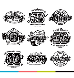 Set of sport badges Graphic design for t shirt vector image