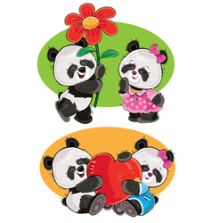 set with a couple of panda bears in love vector image vector image