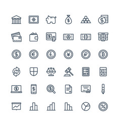 thin line icons set with banking and vector image vector image