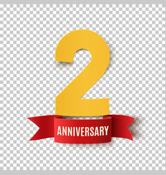 two years anniversary design template vector image